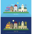 City Street at Day and Night vector image
