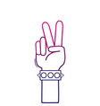 color line hand with bracelet and peace and love vector image