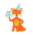 cute orange fox character wearing in a party hat vector image