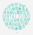 dental clinic concept in circle vector image vector image