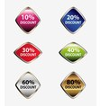 Discount label button web glass icon vector image vector image