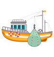 fishing ship icon sea harbor fishery equipment vector image vector image
