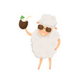funny humanized sheep holding summer cocktail in vector image vector image