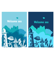 Hand drawn flyers with sings on theme sea vector image
