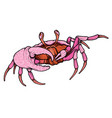 hand drawn line art colorful crab vector image vector image