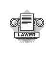 lawyer company logotype with antique pillar and vector image vector image