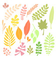 leaves silhouette set autumn isolated decoration vector image