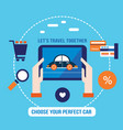 lovely car on the tablet screen shopping buying vector image vector image