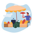 man selling melons and watermelons market farm vector image vector image