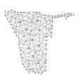 Map of namibia from polygonal black lines and dots vector image