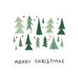 merry christmas tree snow winter season postcard vector image vector image