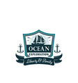 nautical badge of frigate ship ocean waves vector image vector image
