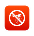 no wasp sign icon digital red vector image vector image