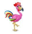 pink flamingo with bright feathers of a rooster vector image