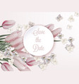 pink tulips card wedding save date vector image vector image
