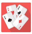 playing cards with aces icon flat style with long vector image
