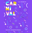 purple carnival poster abstract 80s 90s vector image vector image