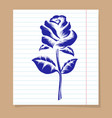 rose on line notebook page vector image vector image