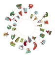 Round Christmas wreath with decoration isolated on vector image vector image