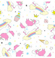 seamless cute unicorn pattern vector image vector image