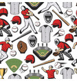 seamless pattern baseball game items and players vector image vector image