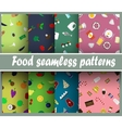 Seamless patterns with food vector image