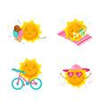 set cute cartoon sun characters kawaii vector image vector image