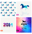 Set of four New Year symbols Blue horse retro vector image