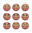 set of funny owl faces with different expressions vector image vector image