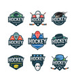 set of hockey logos sport emblems vector image
