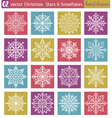 Set with snowflakes and stars vector image