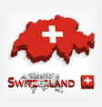switzerland 3d flag and map vector image vector image