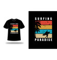 t-shirt surfing paradise color orange yellow vector image vector image