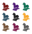 trojan horse icon in black style isolated on white vector image vector image