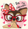 valentine card with cute cartoon puppy vector image vector image