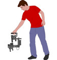videographer with handheld steadycam vector image