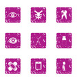view medicine icons set grunge style vector image vector image