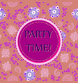 violet round lable on seamless print vector image vector image