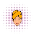 Woman with yellow towel on her head icon vector image vector image