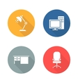 Workplace flat design icon set vector image