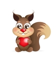 squirrel holding heart vector image