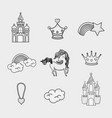 fantasy and magic world doodle icons vector image