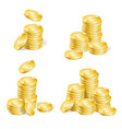 realistic coin stack set vector image