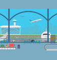 airport terminal field with airplanes and flying vector image