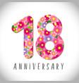 18 flowers anniversary vector image