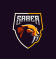 awesome saber tooth logo design vector image vector image