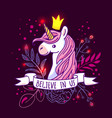 beautiful hand drawn unicorn vector image vector image