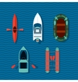 Boats collection Top view of ships vector image vector image