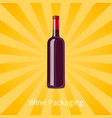 bottle of red wine isolated background with rays vector image