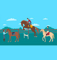 cartoon color characters people and horse rider vector image vector image